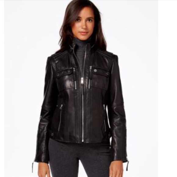 luxury aesthetic color brilliancy structural disablities MICHAEL KORS Black Genuine Leather Jacket